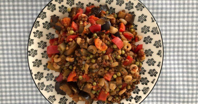 Lentejas con verduras y gambas
